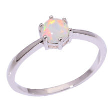 2014! 5mm Color Fire Opal Women Jewelry Gemstone Silver Ring Size 7 /8 /9 TJR001