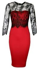 LADIES AX PARIS LONG SLEEVED GLAMOROUS LACE DRESS BLACK/RED SIZES 8-14 BNWT W074