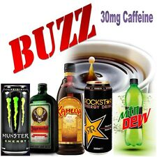 e liquid - for vapor pen - e juice 20ml BUZZ edition 30mg caffeine per bottle