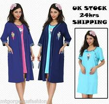 Maternity Pregnancy Set Nightdress and Dressing Gown 3/4 Sleeves Bathrobe 8-16