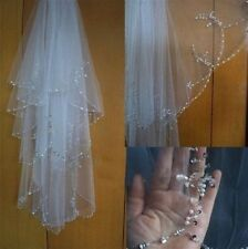 2T White/ivory Elbow Beaded Edge pearl sequins Bridal Wedding Veil