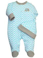 Boys Baby Chevron or Zig Zag Blue & White Footie Sleeper Pajamas and Hat