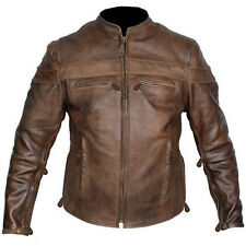 Custom tall size mens retro brown buffalo hide cafe leather motorcycle jacket