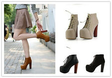 Womens Ankle Boots Solid PU Lace up Chunky Heels Platforms Pumps Elegant Rocker
