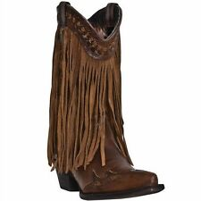 Ladies Dingo Brown/Tan Fringe Western Boot Dl7445 New