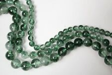 "Natural Green Ghost Phantom Quartz Clear Crystal Round Loose Beads  15"" Strand"