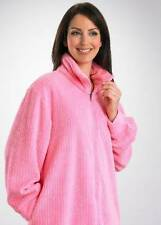 Slenderella Fleece Zip Front Dressing Gown/Pink or Lilac Blue S to XL/HC06328
