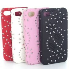 Bling Floral Diamante Crystal Faux Leather Hard Case Cover for the Apple iPhone