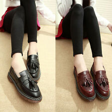 Vintage Women PU Leather Tassel Tods Slip-on Flat Pumps Single Shoes Loafers