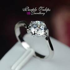 18CT White Gold Plated 1.25carat Made With Swarovski diamond Solitaire Ring