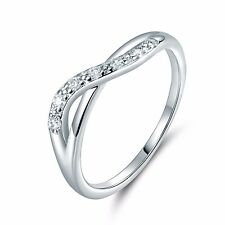 Exquisite 18k white gold filled Swarovski crystal dignified band ring  Sz5-Sz9