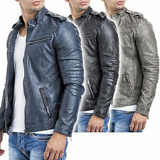 STEPP KUNST-LEDERJACKE BIKER-STYLE 3 FARBEN SLIM FIT KUNST LEDER LEATHER JACKET