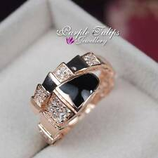 Fashion Unique Stylish Black SWAROVSKI Crystal Ring W/ 18K Rose Gold Plated
