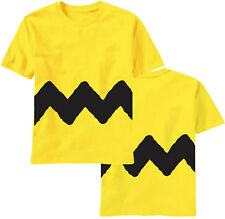 Charlie Brown Peanuts Zig Zag Stripe Adult T-shirt - Yellow / Black