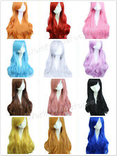 Lolita Long Wavy Curly Women Girl Ladies Cosplay Anime Party  Muli-Color Wig+Cap