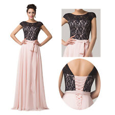 Applique Lace&Chiffon Long Wedding Evening Formal Party Gowns Pageant Prom Dress