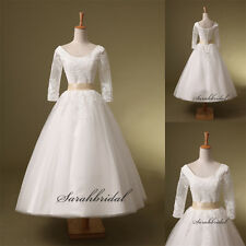 Square Short Cheap White Wedding Dresses 3/4 Sleeve New Lace Formal Bridal Dress