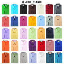 Berlioni Solid Dress Shirt w/ Barrel Convertible Cuffs 35 Colors Available $69