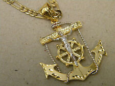 Men's 2 Tone Gold Rhodium Plated Large Anchor Christ Charm & Figaro Chain Set