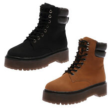NEW LADIES LACE UP COMBAT DESIGN WOMENS PLATFORMS DURABLE BOOTS SHOES SIZE 2-7