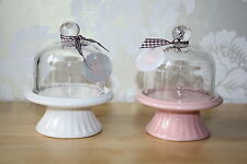 Mini cupcake stand,ceramic base/glass dome top, ribbon trim Height 12cm. Boxed