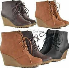 Womens Ankle Boots Wedge Heel Almond Toe Platform Lace Up Booties Shoes New