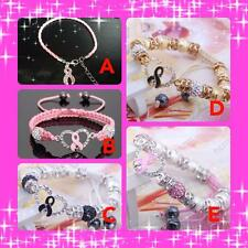 Breast Cancer Charity Bracelet Wristband | 5 Styles | Ribbon Bow  For Charity UK