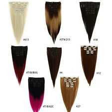 Full Head Clip in Remy Human Hair Extensions 7PCS 8 colors Any Length Us