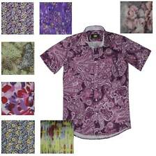 60-70's Retro Slim Fit Shirt Short Sleeve Men Disco Party Costume S M L XL Silky
