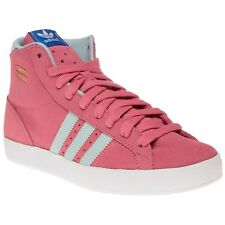 New Girls adidas Pink Basket Profi Suede Trainers Hi Top Lace Up
