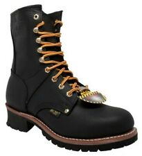 AdTec Men's 9'' Logger Steel Toe Work Boot, Black Full-Grain Leather 1428