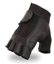 Mens Leather With Elastic Back Fingerless Black Motorcycle Riding Gloves