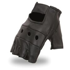 Mens Lightweight Unlined Fingerless Black Motorcycle Riding Gloves