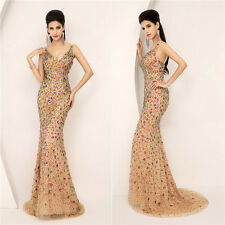 Sexy Luxury Formal Evening Long Dresses Mermaid Beads V-Neck Prom Party Gown