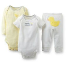 New Carter's 3 Piece Yellow Duck Boy or Girl Bodysuits Pant Set 12m 9m 6m 3m NB