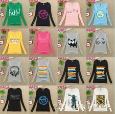 Fashion Korean Women Long Sleeve More Style Street Art Casual T-shirt Top CC2239