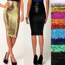 SEQUIN Slim Dress SPARKLING ELASTIC CLUB WEAR PARTY Bodycon Sheath Pencil Skirt