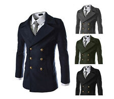 Mens Smart Slim Fit Winter Double Breasted Trench Wool Coat Jacket Outwear #M13