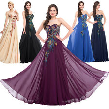 GK Retro Peacock Long Bridesmaid Prom Cocktail Masquerade Ball Gowns Party Dress