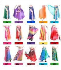 Belly Dance Gradient Silk like Skirt Costume Soft Chiffon 2 layers 2 Side Slits