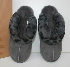 Ugg Coquette charcoal grey leopard suede slippers shoes New In Box