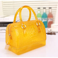Summer New Women Translucent Handbags Plaids Crocodile Beach Jelly Messenger Bag