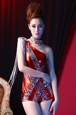 2014 Sexy Women Lady Paillette Motorcycle Tassel Clothes DS Costumes XTZ057