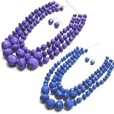 New Fashion Jewelry Chunky Gold Fall Triple Beaded Strand Necklace Earring Set
