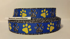Grosgrain Ribbon, Zebra & Yellow Doggie Paw Prints on Blue, Zebra Border, 7/8""