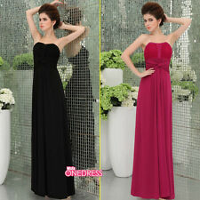 Discount Long Women  Beaded Draped Bridesmaid  Party Gown Formal  EveningDress
