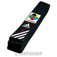 CINTURA NERA ADIDAS ELITE BLACK BELT KARATE OMOLOGATA WKF WORLD K. FEDERATION