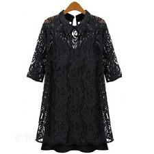 3/4 Sleeve Crochet Long Top Lace Tunic Dress Cocktail Summer Dresses sz 6-18