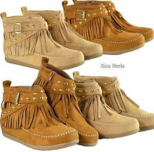 Womens Studded Fringe Moccasin Ankle Flat Boots Faux Suede Zipper Booties New