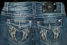 "$108 MISS ME JEANS ""WHITE LEATHER FALLEN WINGS"" BOOT CUT"